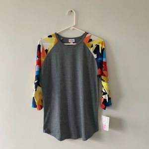 Lularoe Randy Tee 3/4 Sleeve Raglan Abstract Gray
